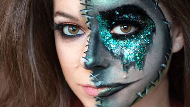Girl with stitched harlequin face fx makeup